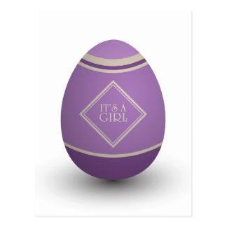 it's a girl stork egg postcard