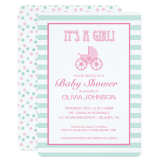 It's a Girl! | Teal & Pink Striped Baby Carriage Card