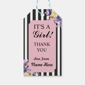 It's a Girl Thank you Baby Shower Pink Stripe Tags