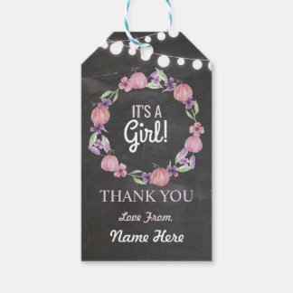It's a Girl Thank you Baby Shower Pumpkin Pink Tag