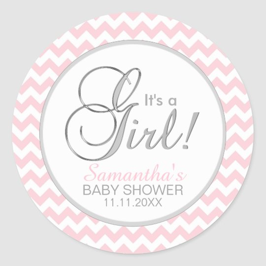 IT'S A GIRL! Trendy Pink Chevron Baby Shower