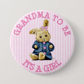 It's a Girl Vintage Bunny Baby Girls Shower Button
