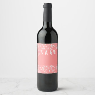 It's A Girl! Wine or Champagne Label