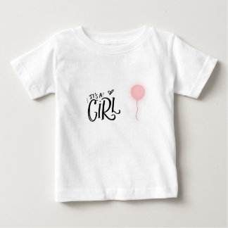 It's A Girl with Pink Balloon Baby T-Shirt