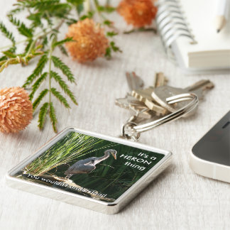 It's a Heron Thing Silver-Colored Square Key Ring