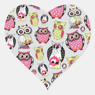 It's a hoot. Quirky Retro Owl pattern. Heart Sticker