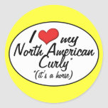 It's a Horse! I Love My North American Curly Round Sticker