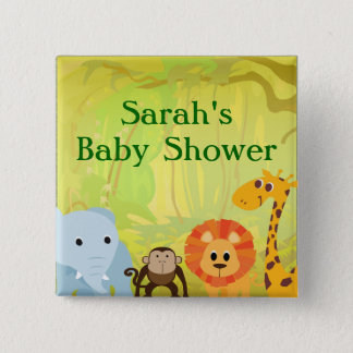 It's A Jungle Baby Shower 15 Cm Square Badge