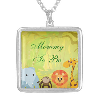 It's A Jungle Baby Shower Silver Plated Necklace