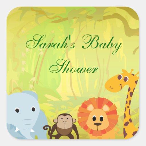 It's A Jungle Baby Shower Square Sticker
