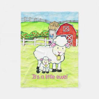 It's a little ewe! Baby girl reveal fleece blanket