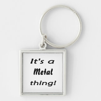 It's a metal thing! Silver-Colored square key ring