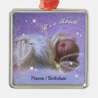 It's a Miracle Baby Silver-Colored Square Decoration