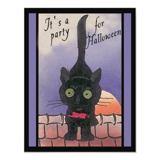 It's a Party for Halloween Black Cat Invitations