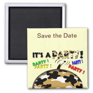 It's a Party Save the Date Square Magnet