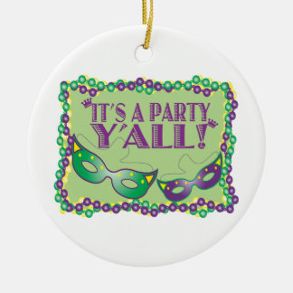 It's A Party Y'All! Round Ceramic Decoration