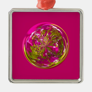 Its a purple and yellow flower in the globe Silver-Colored square decoration