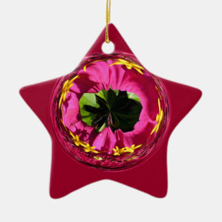 It's a red and yellow flower in the globe christmas ornament