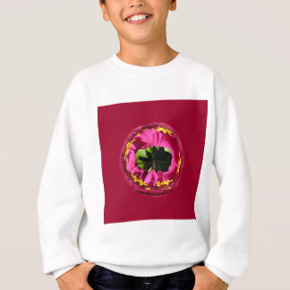 It's a red and yellow flower in the globe sweatshirt