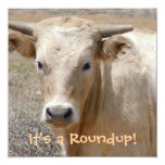 "It's a Roundup! Cattle - Western Style Celebration 5.25"" Square Invitation Card"