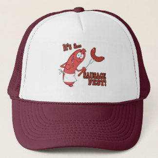 Its a Sausage Fest Funny Sausage Cooking Cartoon Trucker Hat