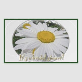 """It's a shower"" Daisy Wildflower Bridal Shower Rectangular Sticker"