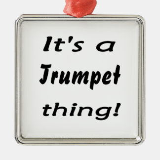 It's a trumpet thing! Silver-Colored square decoration