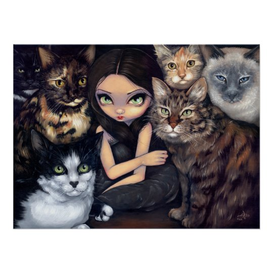 It's All About the Cats fairy cat Art Print