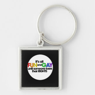 Its all fun and games Silver-Colored square key ring