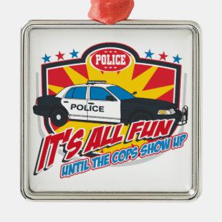Its All Fun Police Silver-Colored Square Decoration