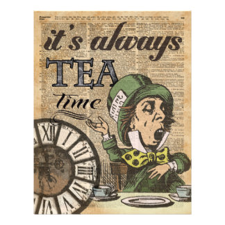 """It's always tea time"" Mad Hatter Dictionary Art 21.5 Cm X 28 Cm Flyer"