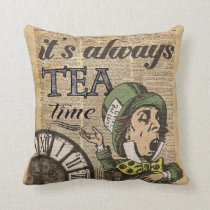 """""""It's always tea time"""" Mad Hatter Dictionary Art Cushion"""