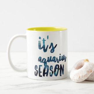 It's Aquarius Season Zodiac Birthday Watercolor Two-Tone Coffee Mug