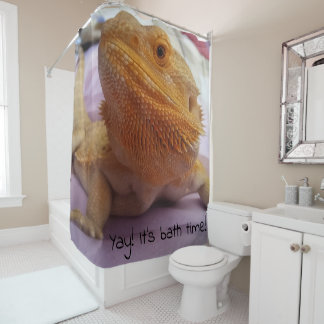 It's bath time Cute Lizard Photo Print Design Shower Curtain