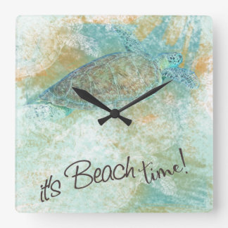 It's Beach Time Sea Turtle Clock