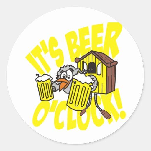It's beer o'clock round sticker