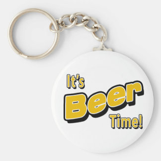 It's Beer Time! Basic Round Button Key Ring