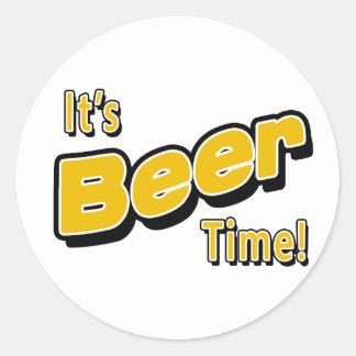 It's Beer Time! Round Sticker