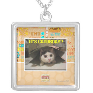 It's Caturday? Silver Plated Necklace