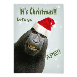 It's Christmas! Let's Go Ape!! 13 Cm X 18 Cm Invitation Card