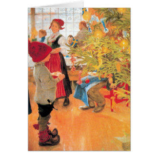 It's Christmas Time Again - Boy Looking at Tree Card