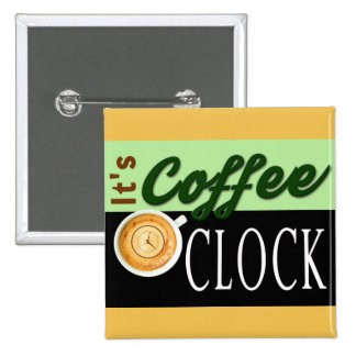 it's coffee o'clock text clock cup hipster message 15 cm square badge
