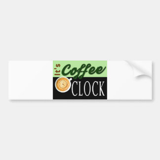 it's coffee o'clock text clock cup hipster message bumper sticker