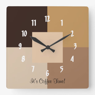 It's Coffee Time! Square Wall Clock