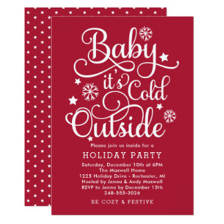 It's Cold Outside | Red Holiday Party Invitation