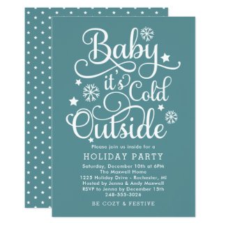 It's Cold Outside | Teal Holiday Party Invitation