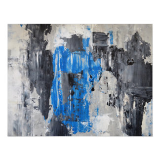 'It's Done' Blue and Grey Abstract Art Poster