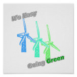 It's Easy Going Green 3 windmills Posters