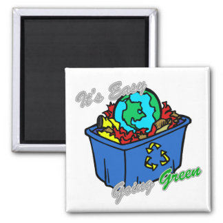It's Easy Going Green Earth's Puzzle 2 Square Magnet