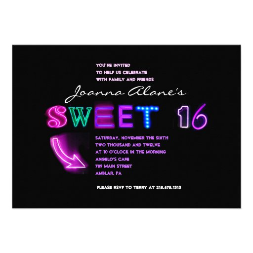 IT'S ELECTRIC! NEON SIGN Sweet Sixteen Invitation